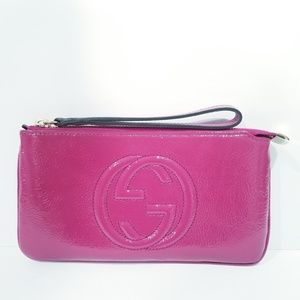 Gucci Soho Soft Patent Leather Wallet Clutch Pink
